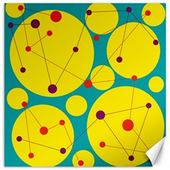 Yellow and green decorative circles Canvas 16  x 16