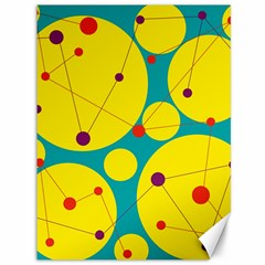 Yellow and green decorative circles Canvas 36  x 48
