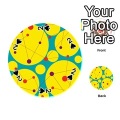 Yellow and green decorative circles Playing Cards 54 (Round)