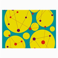 Yellow and green decorative circles Large Glasses Cloth