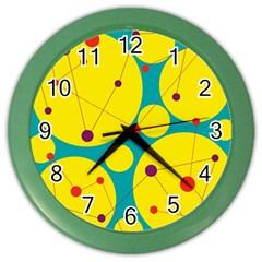 Yellow and green decorative circles Color Wall Clocks