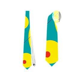 Yellow and green decorative circles Neckties (Two Side)