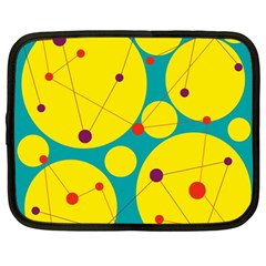 Yellow and green decorative circles Netbook Case (Large)