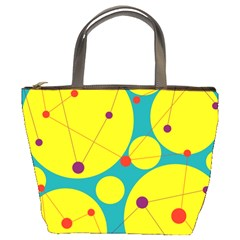 Yellow and green decorative circles Bucket Bags