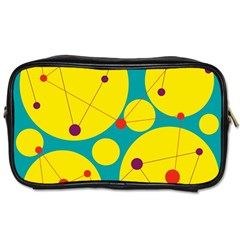 Yellow and green decorative circles Toiletries Bags 2-Side