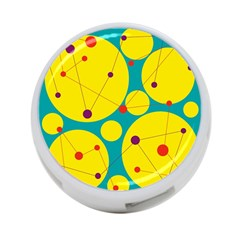 Yellow and green decorative circles 4-Port USB Hub (One Side)