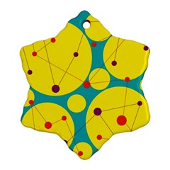Yellow and green decorative circles Snowflake Ornament (2-Side)