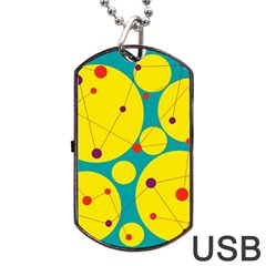 Yellow and green decorative circles Dog Tag USB Flash (One Side)
