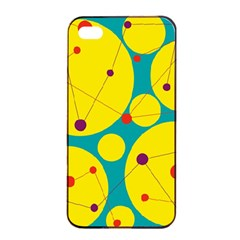Yellow and green decorative circles Apple iPhone 4/4s Seamless Case (Black)