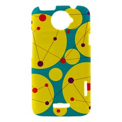 Yellow and green decorative circles HTC One X Hardshell Case