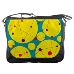 Yellow and green decorative circles Messenger Bags