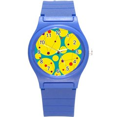 Yellow and green decorative circles Round Plastic Sport Watch (S)