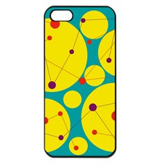 Yellow and green decorative circles Apple iPhone 5 Seamless Case (Black)