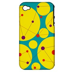 Yellow And Green Decorative Circles Apple Iphone 4/4s Hardshell Case (pc+silicone)