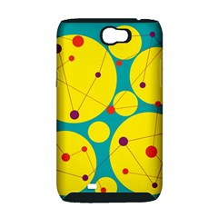 Yellow and green decorative circles Samsung Galaxy Note 2 Hardshell Case (PC+Silicone)