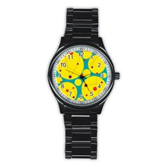 Yellow and green decorative circles Stainless Steel Round Watch