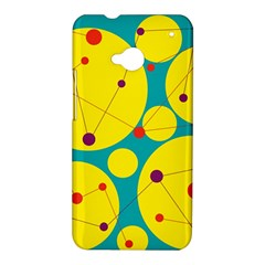 Yellow and green decorative circles HTC One M7 Hardshell Case
