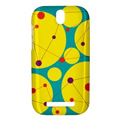 Yellow and green decorative circles HTC One SV Hardshell Case