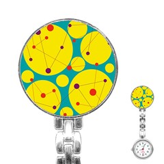 Yellow and green decorative circles Stainless Steel Nurses Watch