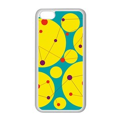Yellow and green decorative circles Apple iPhone 5C Seamless Case (White)