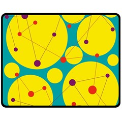 Yellow and green decorative circles Double Sided Fleece Blanket (Medium)
