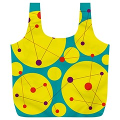 Yellow and green decorative circles Full Print Recycle Bags (L)
