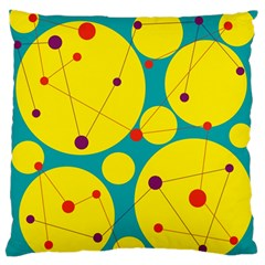 Yellow and green decorative circles Large Flano Cushion Case (Two Sides)