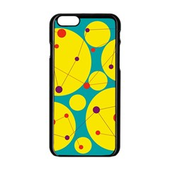 Yellow and green decorative circles Apple iPhone 6/6S Black Enamel Case