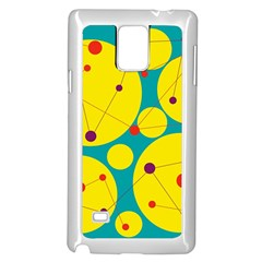Yellow and green decorative circles Samsung Galaxy Note 4 Case (White)