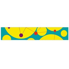 Yellow and green decorative circles Flano Scarf (Large)
