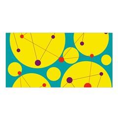 Yellow and green decorative circles Satin Shawl