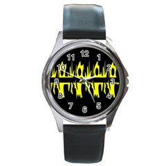 Yellow abstract pattern Round Metal Watch