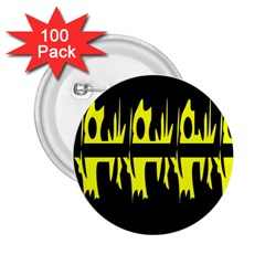 Yellow abstract pattern 2.25  Buttons (100 pack)
