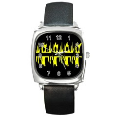 Yellow abstract pattern Square Metal Watch