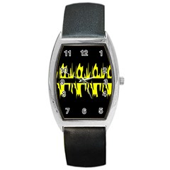 Yellow abstract pattern Barrel Style Metal Watch