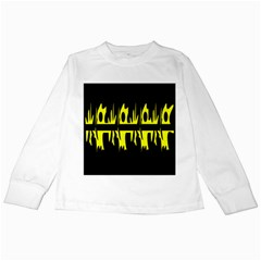 Yellow abstract pattern Kids Long Sleeve T-Shirts