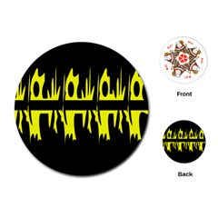 Yellow abstract pattern Playing Cards (Round)