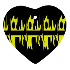 Yellow abstract pattern Heart Ornament (2 Sides)