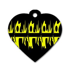 Yellow abstract pattern Dog Tag Heart (One Side)