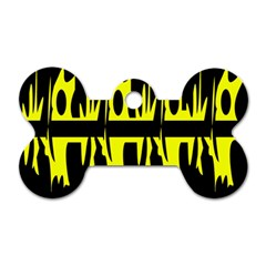 Yellow abstract pattern Dog Tag Bone (One Side)