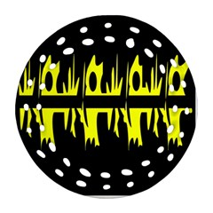 Yellow abstract pattern Round Filigree Ornament (2Side)