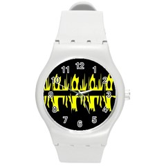 Yellow abstract pattern Round Plastic Sport Watch (M)