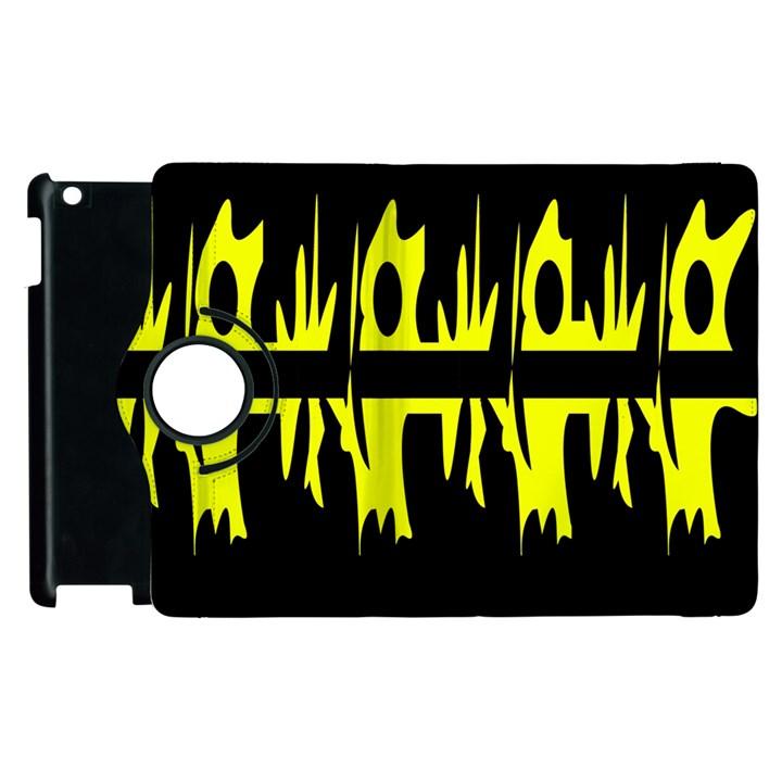 Yellow abstract pattern Apple iPad 2 Flip 360 Case