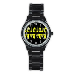 Yellow abstract pattern Stainless Steel Round Watch