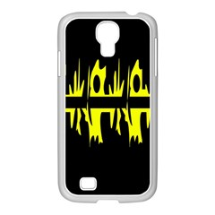 Yellow abstract pattern Samsung GALAXY S4 I9500/ I9505 Case (White)