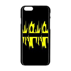 Yellow abstract pattern Apple iPhone 6/6S Black Enamel Case