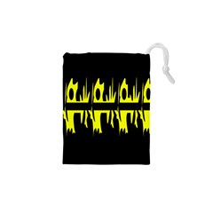 Yellow abstract pattern Drawstring Pouches (XS)