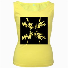 Black and white pattern Women s Yellow Tank Top