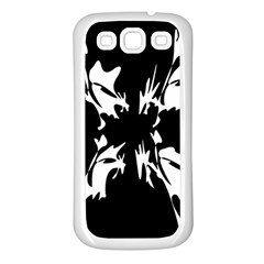 Black and white pattern Samsung Galaxy S3 Back Case (White)