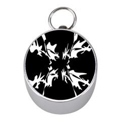 Black and white pattern Mini Silver Compasses